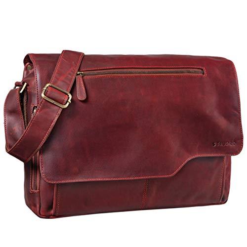 STILORD 'Marvin' Borsa Messenger vintage in pelle Grande borsa a tracolla da uomo donna per l'università ufficio lavoro Borsa porta PC 15.6 pollici, Colore:rosso
