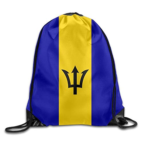 American Oregon State Flag Sackpack Drawstring Bags Polyester Backpack Outdoor Sports Gym Bag Yoga Runner Daypack Team Training Gymsack Big Capacity (Twin Sides) Barbados Flag -