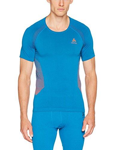 Odlo Herren Shirt s/s Crew Neck Seamless Warm Ski-Unterhemden, mykonos blue-orangeade, L (Unterhemd Essential)