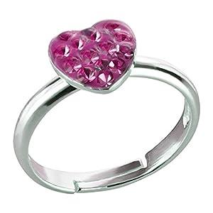 FIVE-D Damen- und Mädchenring Fingerring Kristall Herz Grösse einstellbar aus 925 Sterling Silber im Schmucketui