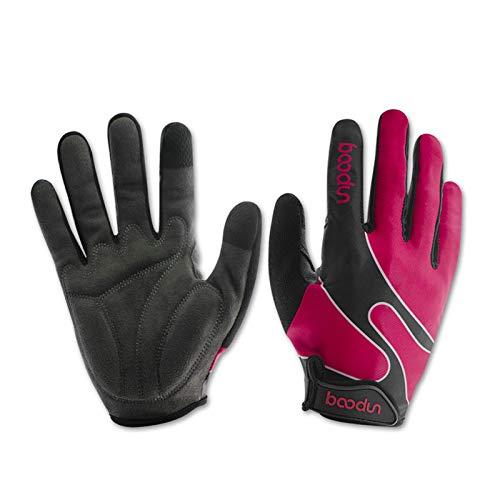 LOUMVE Fahrradhandschuhe Reithandschuhe Sport Elastic Lycra Touchscreen Handschuhe Rose Rot M