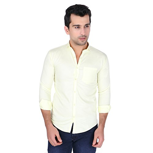 Strak Designer Yellow Cotton Shirt For Men Size:- XL  available at amazon for Rs.444