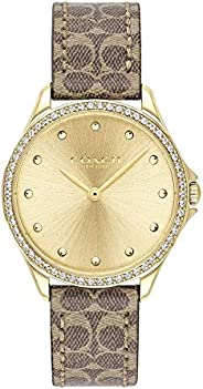 Coach Womens Quartz Watch, Analog Display and Leather Strap 14503218