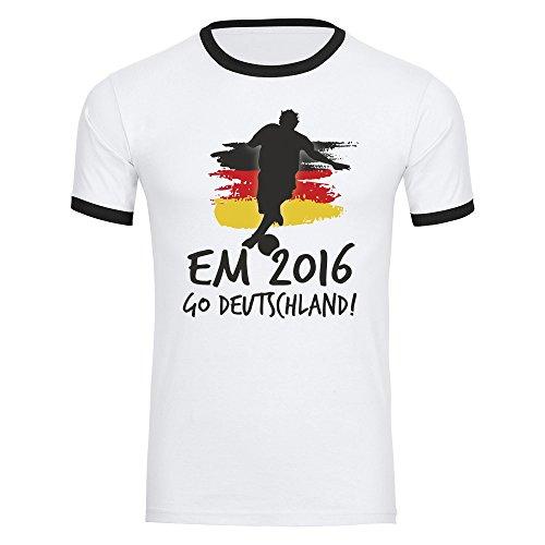 T-Shirt Go Deutschland EM 2016 Frankreich Herren weiß / schwarz Gr. S - 2XL France Germany Deutschland, Größe:XXL