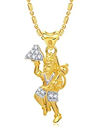 Vk Jewels Jai Hanuman Gold And Rhodium Plated Alloy With Cubic Zirconia God Pendant For Men & Women