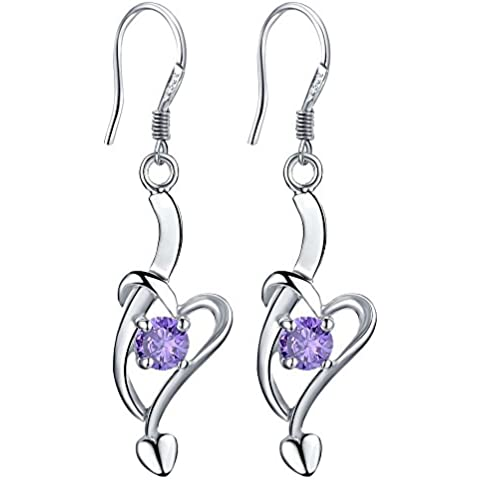 nykkola Fashion Jewelry–Pendientes con Colgante de Corazón y amatista bañado en plata de ley 925pendientes con Bolsa de