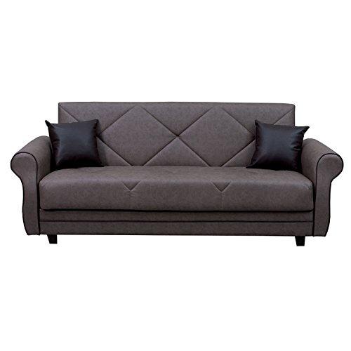 Esse italia divano letto 3 posti con contenitore in ecopelle marrone 220x90xh. 85 cm