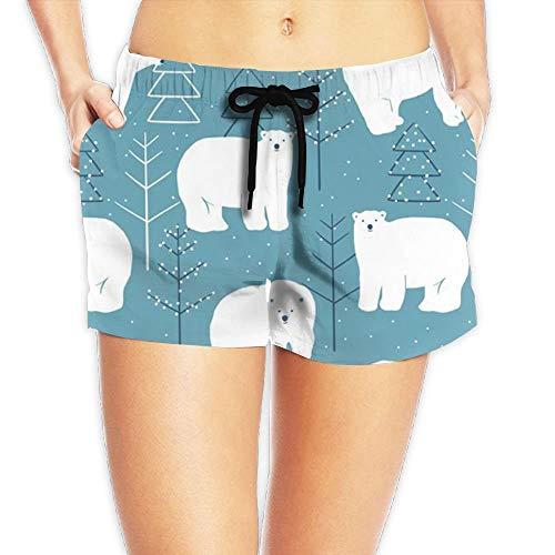 ERCGY Women's Elastic Lounge Shorts Polar Bear Beach Shorts XXL (Polar Club-shirt Bear)
