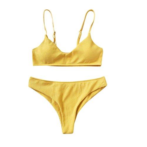 Bikini Damen,Binggong Frauen Bikini Set Push Up Bikini Bralette Bademode Freche Bikini Bottom Badeanzug Mode gestreiften Bademode Sling Weste Bikini Baden Entspanntes Strandset (Gelb, S) (Spitze Sweater Nylon)