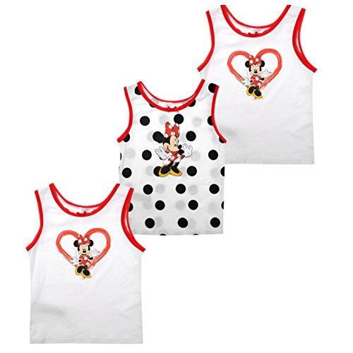 Disney Minnie Mouse 3canottiere confezione Childs bianco carattere gilet da uomo, 5-6 anni