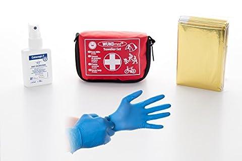Buy and Happy: Das Erste Hilfe Set für jede Lage (Reisen, Outdoor, Sport)| Der Riese in kleiner Verpackung| Varianten: Desinfektionsspray, Handschuhe, Beatmungsmaske als Schlüsselanhänger| (Erste Hilfe (Jedes Set)