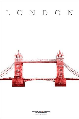 Poster 40 x 60 cm: London city Golden Gate Bridge by campus graphics - high quality art print, new art poster