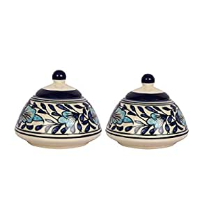 Craftghar Set of 2 Ceramic Multipurpose Jars with Lid in Handmade Blue Ceramic Pottery Ideal for (Pickle Chutney Curd Dahi Spices Sugar Storage etc)