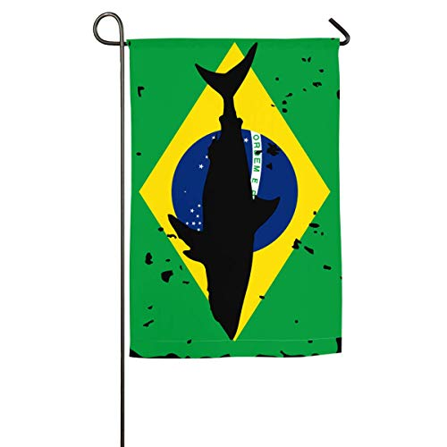 N/A Weinlese-Haifisch-Brasilien-Flaggen-Garten-Flaggen Feier-Flaggen-Frühlings-Sommer-dekorative Flagge -