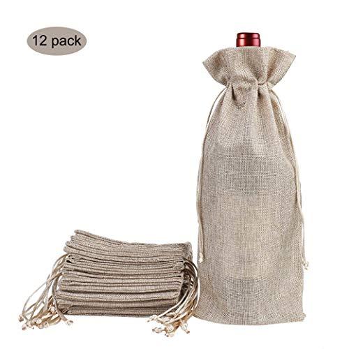 ¡Las bolsas naturales de vino de yute con arpillera dan una sensación realmente agradable a una botella!    Características del producto:   -Las bolsas de vino de yute están hechas de lino de calidad, duraderas y resistentes al desgaste, que pueden s...