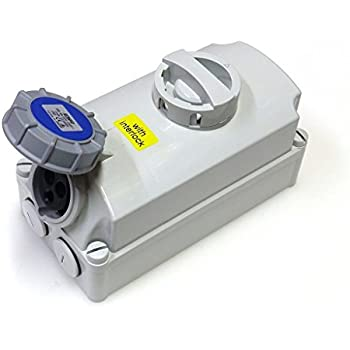 250V Waterproof IP67 32A Socket Interlock 2P+E 3 Pin Isolator Switch 200V