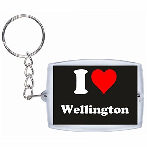 Druckerlebnis24 Schlüsselanhänger I Love Wellington in Schwarz, eine tolle Geschenkidee die von Herzen kommt| Geschenktipp: Weihnachten Jahrestag Geburtstag Lieblingsmensch Wellington Quad