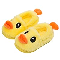 unlockgift Kids Cute Plush Duck Slippers Indoor House Slippers Warm Winter Shoes (7 UK Toddler) Yellow