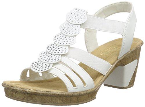 Rieker 69702, Sandales Bout Ouvert Femme Blanc (Bianco / 80)