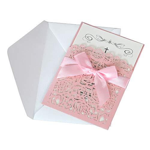 Fafalloagrron 10 Stück/Set Glitzer Hohl Rose Einladungskarten Cover Kits mit Schleife Band für Hochzeit Brautparty Geburtstag Verlobung rose