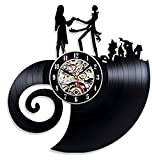 HCPGZ The Nightmare Before Christmas Creative Vinyl Record Reloj de Pared - Hanging Kid S Room Decor Jack & Sally Disney