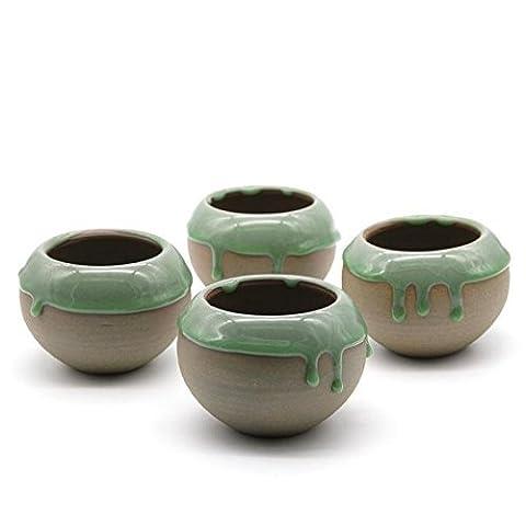 T4U 11.5CM Ceramic Solid Color Base Flowing Glazed Spherical Shape Sucuulent Plant Pot/Cactus Plant Pot Flower Pot/Container/Planter Greenish brown Package 4 by T4U888