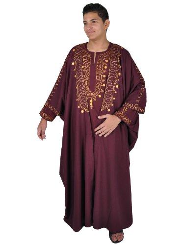 Egypt Bazar Zweiteiliges Araber Scheich Kostüm,Kaftan mit Umhang, Farbe: weinrot/gold (70 (6XL)) (Garten Kaftan)