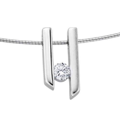 Diamond Line Damen-Halskette mit Diamant Anhänger 585 Weißgold 1 Diamant ca. 0,20ct. getöntes weiß Lupenrein (gW-LR)