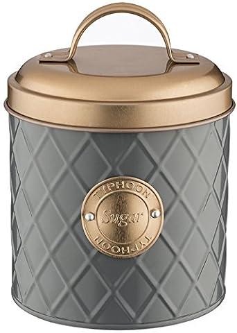 Typhoon Living Lid Sugar Storage Tin, Grey/Copper