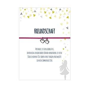 2 Armbänder im Set für 2 Freundinnen TIEFE FREUNDSCHAFT mit 2 Anhängern Herz, elastischem Textilband und liebevoller Karte:Freunde zu sein, bedeutet, durch ein unsichtbares Band verbunden zu sein.