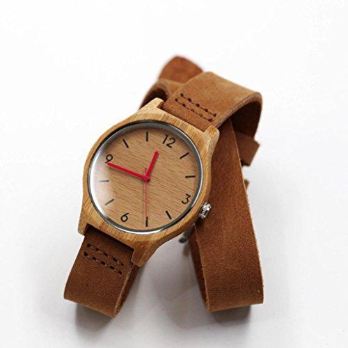 vovotrade La nueva de cuero relojes de madera de bambú