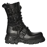 NEWROCK New Rock M.391 S.18 Black Metallic Reactor Punk Goth Biker Unisex Black Boots