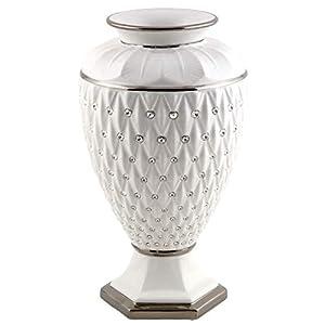 Dekovase Luxury aus weißem Keramik mit Rautenmuster Details aus Platin und Kristallen Made In Italy