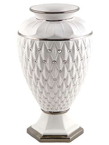 Dekovase Luxury aus weißem Keramik mit Rautenmuster Details aus Platin und Kristallen Made In Italy Platin Vase