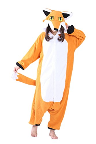 dressfan Animal Jumpsuit Mr. Fox Erwachsene Pyjamas Unisex Polar Fleece Cosplay - Orange Fox Kostüm