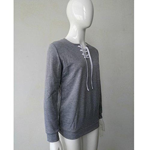 zahuihuiM, Femmes Débardeur à manches longues à manches longues Blouson à encolure T-shirt décontracté pour sport Gris
