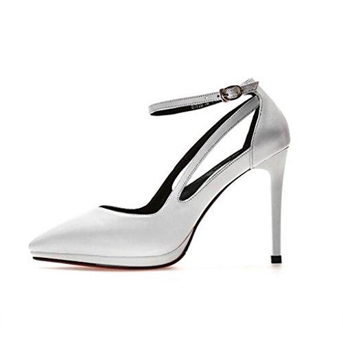 W&LM Scarpe da donna vera pelle Scarpe singole Tendon bottom Piattaforma impermeabile bene Tacchi alti Bocca poco profonda scarpe di pelle White