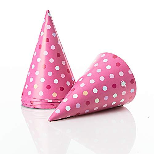 Kerafactum 12 Partyhüte Hüte Party Hütchen Partyhütchen für Geburtstag Fasching Kanrneval Silvester oder Kinderparty matt glänzend Geburtstagshüte Kindergeburtstag mit Gummiband