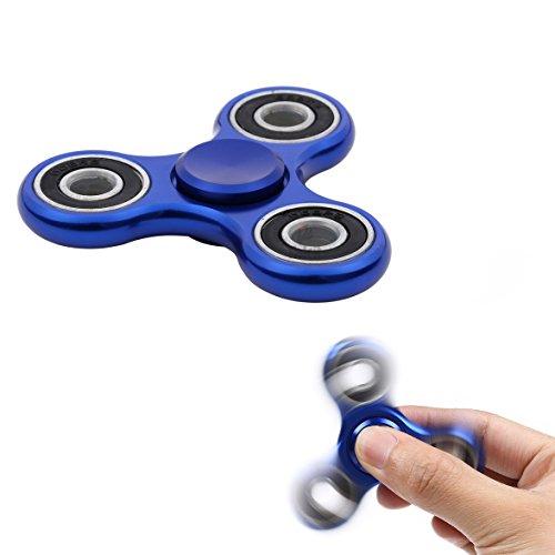 Takit Tumi Fidget mano Spinner metal–Mejor juguete a la reducción de estrés–perfectamente contra miedo y estrés–para adultos o niños–Azul Metal