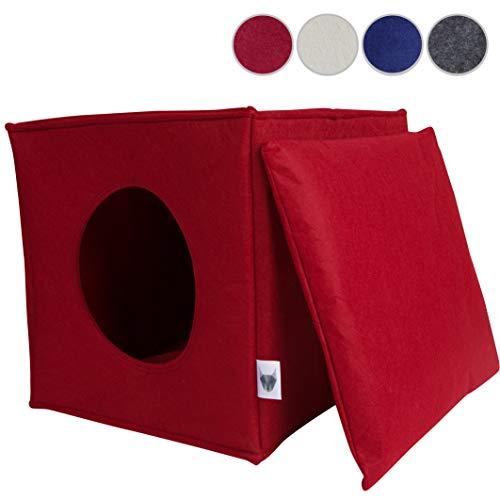 VIIRKUJA Katzenhöhle inkl. Kissen | Passend für z.B. IKEA Expedit & Kallax Regal | Extra Flauschiges Kissen | Besonders stabil und warm | Katzenbett, Kuschelhöhle, Katzenkorb