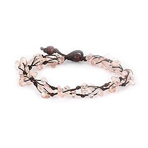 MGD – Rosa Kunzit Perlen Fußkettchen – Edelstein Fußkettchen – Schöne Handgemachte Mode Schmuck für Damen – Kinder und Jugendliche – JB-0120A