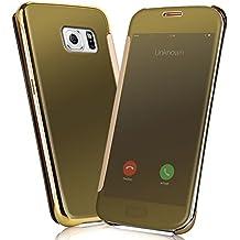 Samsung Galaxy S6 edge Fundas y Carcasas - NextMall Flip Case [Vista Clara Cover ]PU Cuero Ultra delgado Espejo Protective Dura Carcasa para Galaxy S6 Edge - dorada