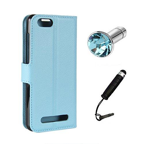 Lusee Kunstliches Leder Tasche für Doogee X20 / 20L 5.0 Zoll Ledertasche Case Cover mit Silikon Hülle Etui Schutzhülle Standfuntion (Blau) + Gratis Touchpen Staubschutz