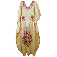 Mogul Interior Women Caftan Maxi Dress Lemon Embellished Designer Kaftan One Size