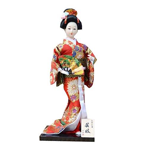 """12 \""""japanische traditionelle Vintage Kimono Tuch Geisha Puppe Figur - zufällig - A8"""