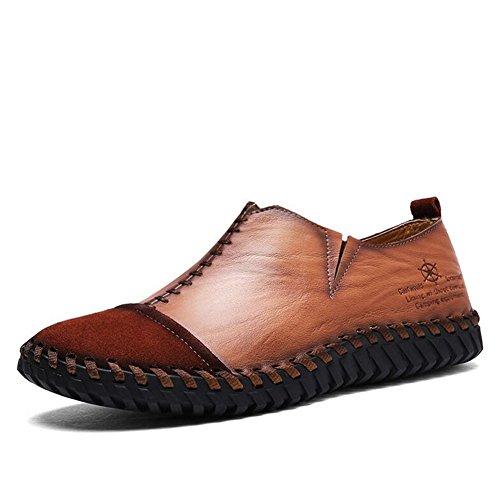 Hommes Casual Les hommes occasionnels soulèvent des chaussures de sport en plein air despadrilles plates de mocassins plats britanniques ( Color : Black-38 ) Brown-43