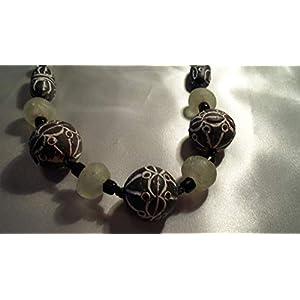 Afrika handgemachte Ton und Glas Perlen Kette, Makramee, Unikat