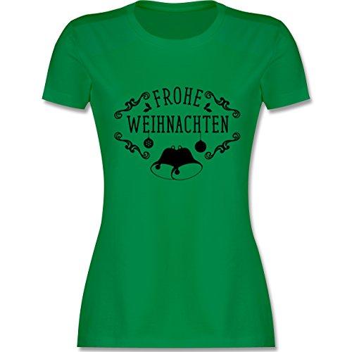 Weihnachten & Silvester - Frohe Weihnachten Glocken - tailliertes Premium T-Shirt mit Rundhalsausschnitt für Damen Grün