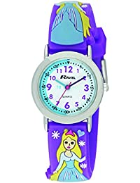 Ravel R151375 Montre à quartz avec affichage analogique pour enfants Motif princesse des neiges Cadran blanc/bracelet multicolore