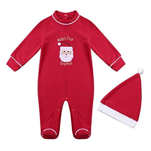 ddfa3168dcfd3 TiaoBug Bébé Fille Garçon Noël Body Combinaison à Manche Longue Barboteuse  Romper et Bonnet Vêtement Baptême